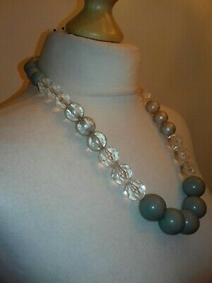 £3 • Buy Oasis Grey/silver/clear Plastic Large Bead Necklace.good Condition