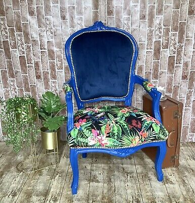 £180 • Buy French Style Louis  Carver Chair Reupholstered Shabby Chic