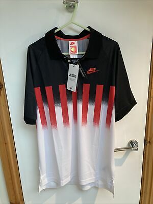 """£70 • Buy VTG NIKE Challenge Court Polo Shirt ANDRE AGASSI BNWT SMALL PTP 20.5"""" Hot Lava"""