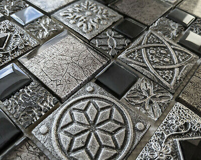 £8.98 • Buy Celtic Anglo Saxon Ancient Stone Metal Glass Grey Black 3d Mosaic Wall Tile 8mm