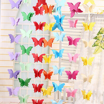 £2.12 • Buy 3D Paper Butterfly Hanging Garland Bunting Banner Party Baby Shower Decor