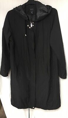 £9.99 • Buy NEW Black Fully Lined Long Zipped Pull Tie Waist Lightweight Hooded Coat Size 18
