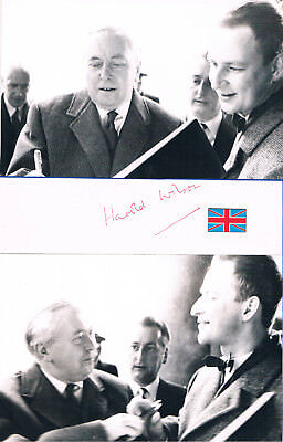 £38.03 • Buy United Kingdom Prime Minister Harold Wilson 1916-95 Autograph Signed Album Page