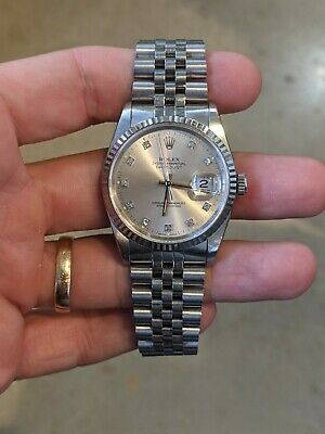 $ CDN5330.46 • Buy Rolex Datejust 36mm 16234 Stainless/White Gold With Silver Diamond Dial Watch