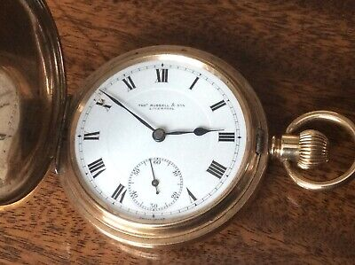 £95 • Buy Antique Gold Plated Full Hunter Pocket Watch.thos Russell & Sons.liverpool.