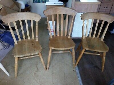 £30 • Buy Dining Room Chairs X 3 Used Beech Solid Wood