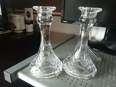 £7.99 • Buy Vtg Pair Of Clear Pressed Cut Glass Candle Holders ~ 155 Mm Tall