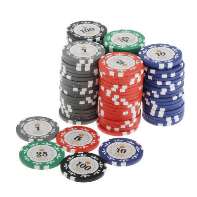 £33.05 • Buy 100 Pieces Poker Chips Set Casino Supply Board Card Game Token Chip 4cm