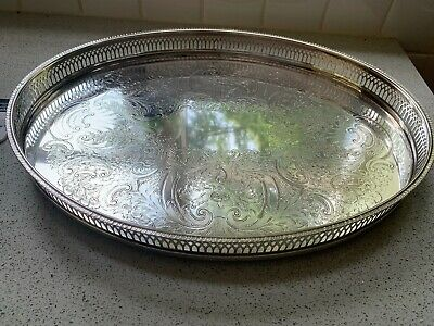 £10 • Buy Cavalier Silver Plated Gallery Footed Oval Tray With Fretted /Pierced Edges 42cm