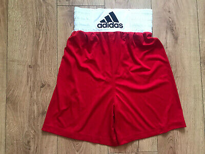 £10 • Buy BOYS ADIDAS RED WHITE BOXING SHORTS SIZE XS UK 6-7-8 Years Exc Cond