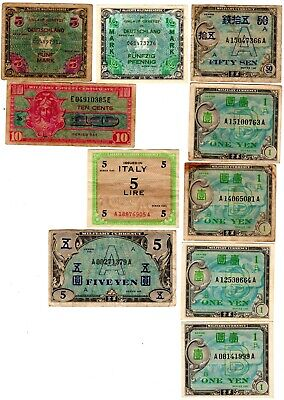 $19.99 • Buy 10 Military Payment Certificates Italy German Japan World War 2 LOOK!@@!