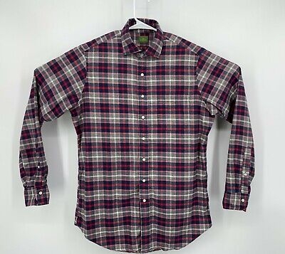 $69.99 • Buy Sid Mashburn Mens Plaid Long Sleeve Red Button Front Flannel Casual Shirt Medium