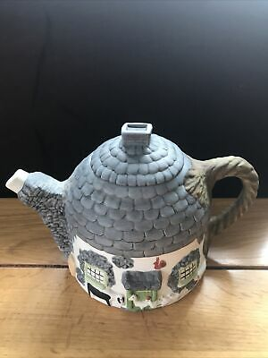 £11.99 • Buy Christopher Wren Cottage Novelty Teapot Staffordshire Pottery - Grey Thatch Roof