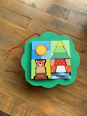 £5.99 • Buy Janod Woodland Pull Along Cart With Wooden Blocks/Puzzle - Montessori Toy