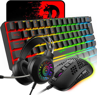 AU64.30 • Buy 60% Gaming Keyboard Mouse And Headset Combo RGB Backlit ABS Floating Keycap USB