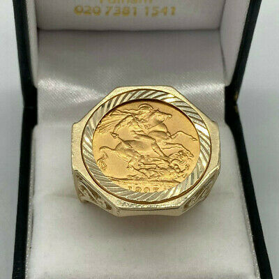 £895 • Buy 22ct Gold Edward Full Sovereign In 9ct Gold Ring Mount.  Goldmine Jewellers.