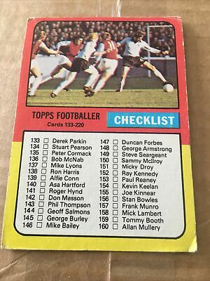 £12.50 • Buy Topps Gum Football Cards Red/grey Backs 1975 Unmarked Checklist 133-220 Card 204
