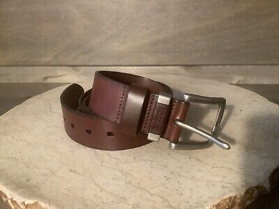 $12.99 • Buy Fossil Men's Belt JAY Brown Leather Size 42 Buckle