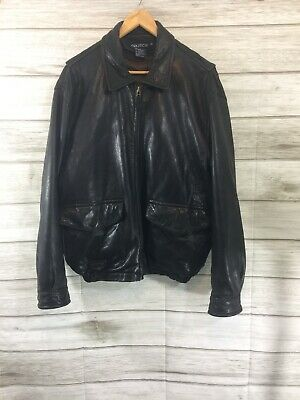 """$35.50 • Buy Nautical Men's  Distressed  Leather Jacket  Black Bomber Size 44 """"READ"""""""