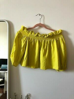 £0.99 • Buy Zara Lime Yellow Off The Shoulder Blouse Top Size S Summer Holiday Outfit