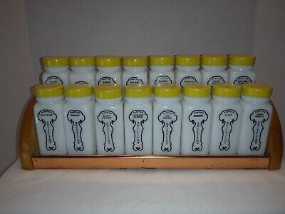 $56 • Buy 16 Vintage Milk Glass Yellow Lid Griffith Spice Jars Set With Wood & Metal Rack
