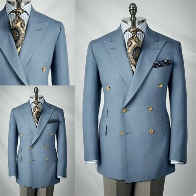 $99.80 • Buy Business Double Breasted Men Suits Peak Lapel Tuxedos Formal Work Prom Blazer