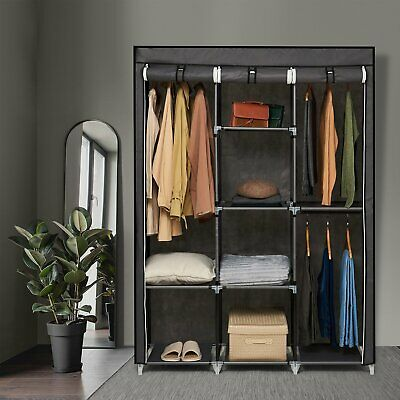 £26.99 • Buy Portable Fabric Canvas Wardrobe Hanging Storage Clothes Rail Shelves Cupboard