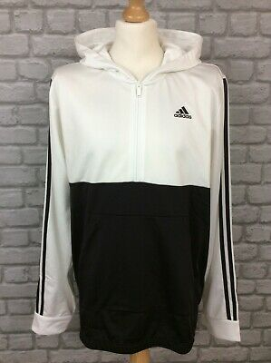 £34.50 • Buy Adidas Mens Black White Colour Block 3-stripe Poly Half Zip Hooded Track Top Ad