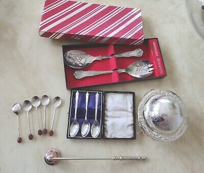 £67 • Buy Vintage Silver Plated Items JOB LOT Butter Dish  Candle Snuffer Spoons  SETS UK