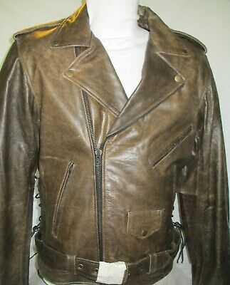 $99.99 • Buy NEW Mens Brown Distress Armored Vented Leather Motorcycle Jacket 42  CHEST LARGE