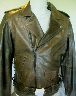 $99.99 • Buy NEW Mens Brown Distress Armored Vented Leather Motorcycle Jacket 40  CHEST= MED