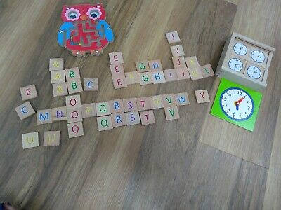 £4 • Buy Wooden Toys, Clock Game Letter And Maze Puzzle