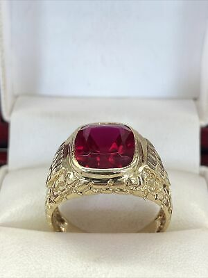 $549.99 • Buy ❤️Mens 14k Solid Yellow Gold 5 Ct Emerald Red Ruby Vintage Ring Sz 10
