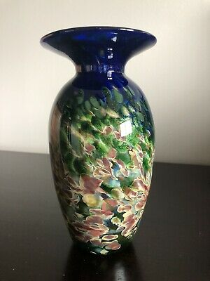 $37 • Buy Beautiful Mad Art Studios Dichroic Vase Signed 2002 Hand Blown Glass