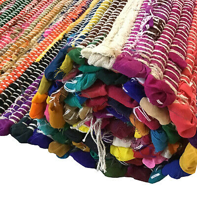 £8.99 • Buy Handmade Indian Chindi Rag Rug Recycled Cotton Large Small Woven Floor Mat New