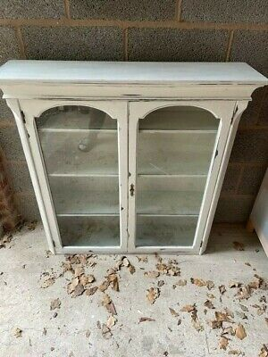 £20 • Buy Vintage Bookcase Grey ( Chalk Painted ) Glass Fronted 3 Shelves Circa 1930s