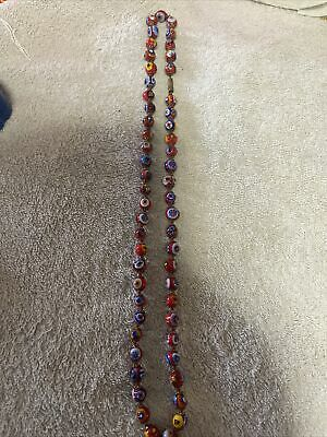 """$44 • Buy Vintage Millefiori Bead Necklace 24 """" Hand Knotted Art Glass Strand Murano Italy"""