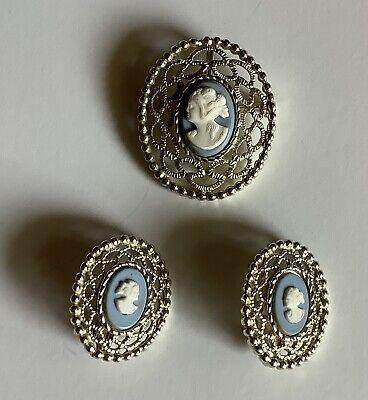 $3.99 • Buy Vintage Sarah Coventry CAMEO PIN/PENDANT, EARRINGS