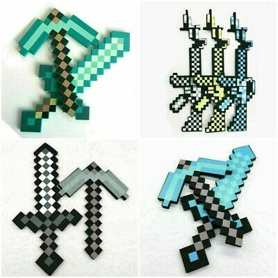 AU24.99 • Buy Minecraft Game Weapon Large Green Diamond Sword Or Pickaxe Foam Toy Kids Gift