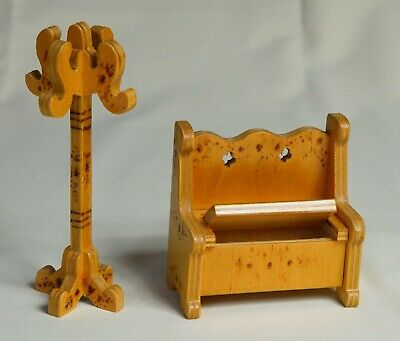 £9.50 • Buy Childs Dolls House Furniture - Wooden Hall Seat With Opening Seat And Hat Stand