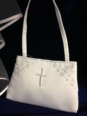 £9.99 • Buy White Satin Bag With Pearl Cross Holy Communion, Bridesmaid/Flower Girl BN