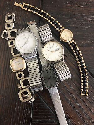 $14.95 • Buy LOT OF MENS AND WOMENS WATCHES 4 PARTS OR REPAIR Fossil Timex Caravelle Armitron