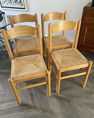 £250 • Buy Four Vintage Beech Dining Chairs Manner Of Vico Magistretti