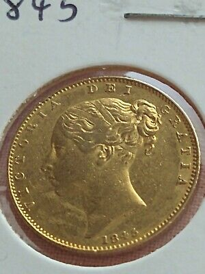 £560 • Buy 1845 Full Sovereign Gold Coin Queen Victoria Shield