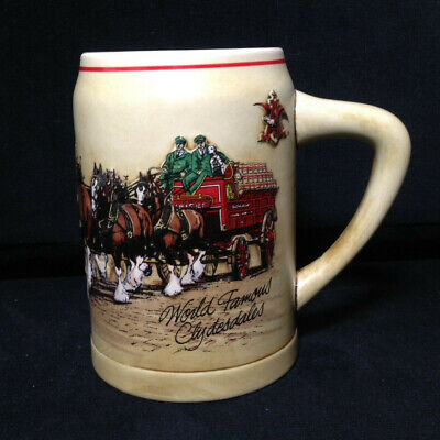 """$ CDN31.15 • Buy BUDWEISER 1987 Clydesdales Series Beer Stein CS74 """"World Famous Clydesdales"""""""