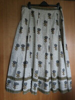 £10 • Buy East Size 18 Beautiful Block Print Full Ankle Length Cotton Skirt Super Cond