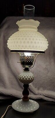 $40 • Buy Vintage White Hobnail Milk Glass Electric Hurricane Lamp With Clear Chimney