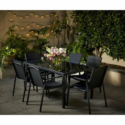 AU399 • Buy 7 Piece Modern Glass Top Black Outdoor Dining Set Chairs Table Free Shipping