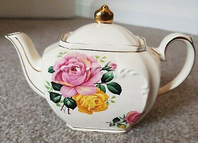 £1.99 • Buy Sadler Cube Small 2 Cup Floral Teapot Gold Gild Ceramic Kitchenware Pottery
