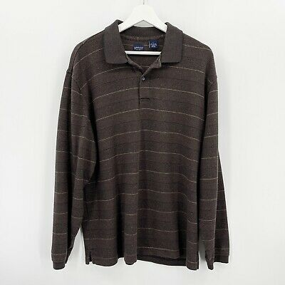 $16.99 • Buy Arrow Size Large Men's Striped Sweater Brown Button Collar Cotton Long Sleeve
